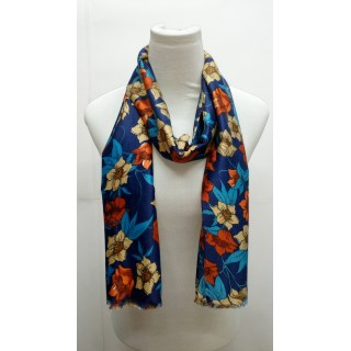 Premium Silk Viscose Stole -Dark Blue