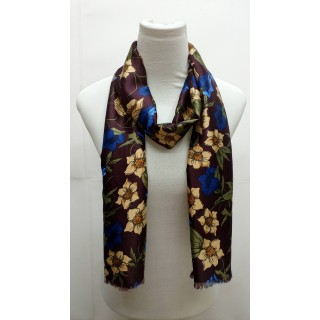 Premium Silk Viscose Stole-Purplish Brown