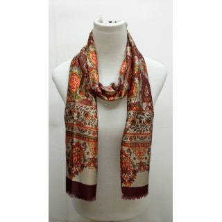 Rich Printed Stole-Purplish Orange