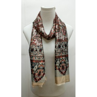 Rich Printed Stole-Grayish Brown
