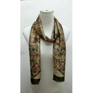 Rich Printed Stole-Greenish Grey