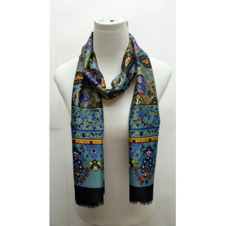 Rich Printed Stole- Blue