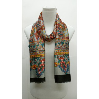 Rich Printed Stole-Grayish Black