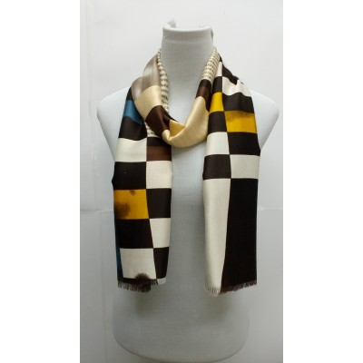 Rich Printed Stole-Whitish Brown
