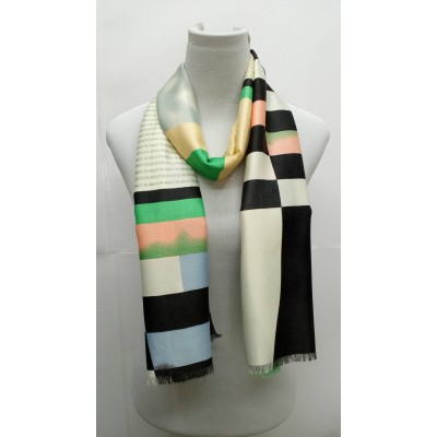 Rich Printed Stole-Whitish Green