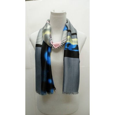 Rich Printed Stole-Blueish Pink
