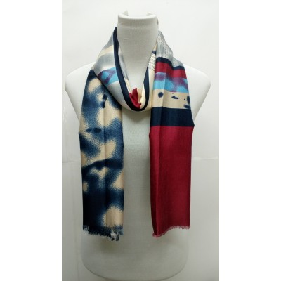 Rich Printed Stole-Whitish Red