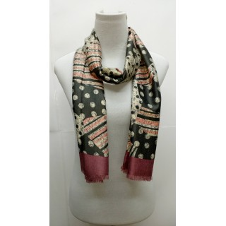 Rich Printed Stole-Greenish Pink