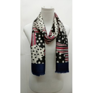 Rich Printed Stole-Blackish Blue