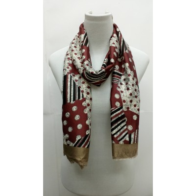 Rich Printed Stole-Whitish Maroon