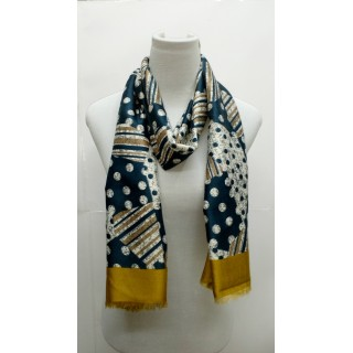Rich Printed Stole-Whitish Blue