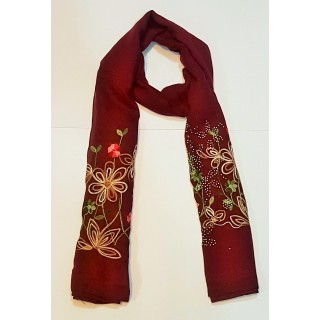 Maroon Color-Premium  Ari Diamond Flower Stole