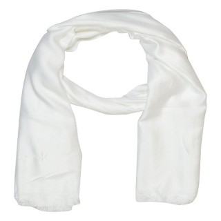 Satin Plain Stole-White Color