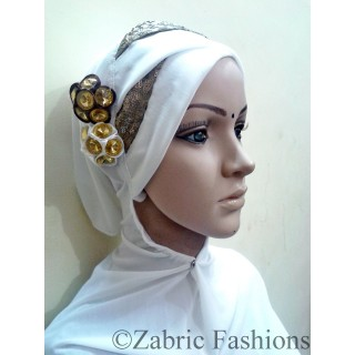 Hijab-Plain white bridal designer
