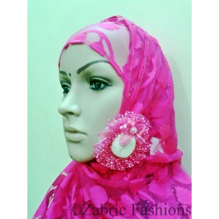 Hijab- Designer pink colored with cap