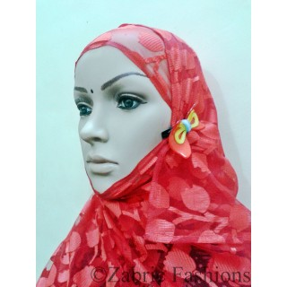 Hijab- Designer red with cap