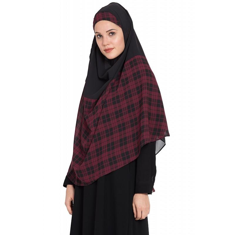 58b38dfe6d Instant hijab online- Checkered Instant Hijab at shiddat.com