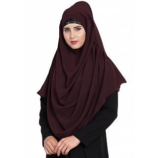 Premium Instant Hijab- Wine color
