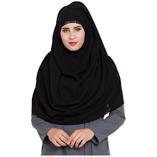 Premium Instant Hijab- Black color
