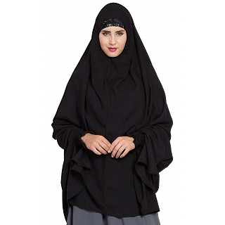 Prayer Hijab with sleeves- Black