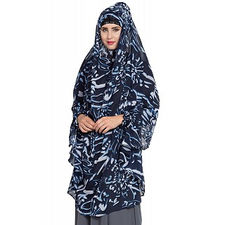 Printed long Khimar with sleeves