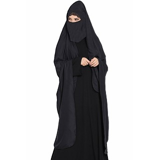 Irani chador with detachable Nosepiece- Black