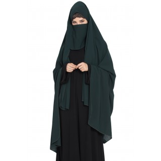 Irani chador with detachable Nose piece- Green