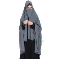 Irani chador with detachable Nose piece- Grey