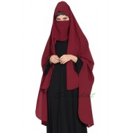 Irani chador with detachable Nose piece- Maroon