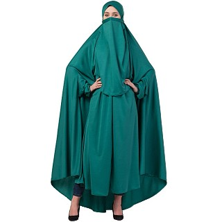 Free size jilbab with nose piece- Green
