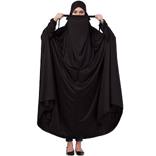 Free size jilbab with nose piece- Black