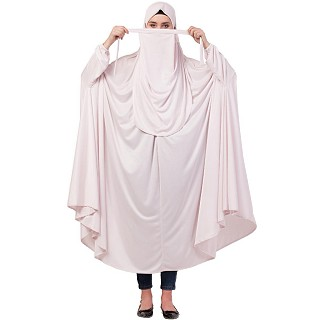Free size jilbab with nose piece- Light pink