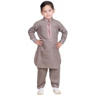 Elegant Boys Pathani-Suit-Dusty Gray colored