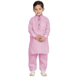 Elegant Boys Pathani-Suit-Pink colored