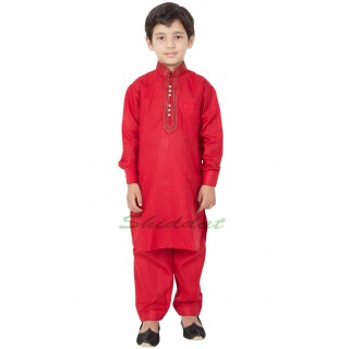 Elegant Boys Pathani-Suit- Crimson Red