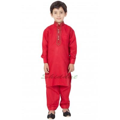 Elegant Boys Pathani-Suit- Crimson Red