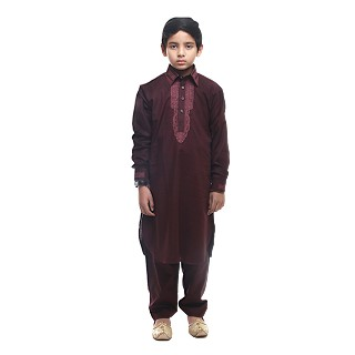 Designer Boy's/Kids  Embroidery Pathani Suit- Maroon