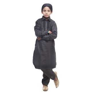 Designer Boy's/Kids  Embroidery Pathani Suit- Black