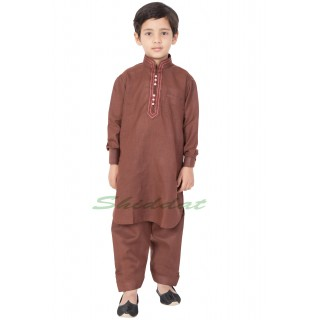 Boy's/Kid's  Pathani-Suit - Coffee