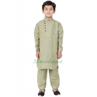Designer Boy's/Kids  Pathani Suit- Mist Green
