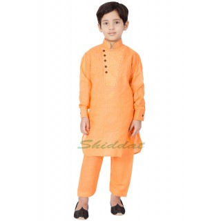 Designer Boys Pathani Suit - Orange