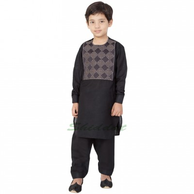 Afgani Pathani Suit for Kid's/Boy's - Black
