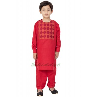 Afgani Pathani Suit for Kid's/Boy's - Persian Red