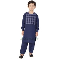 Afgani Pathani Suit for Kid's/Boy's - Navy Blue