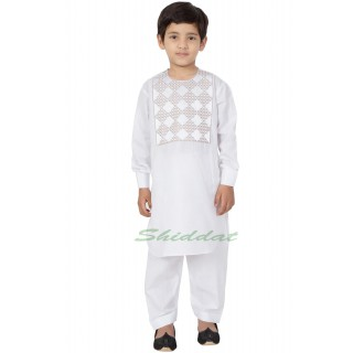 Afgani Pathani Suit for Kid's/Boy's - White