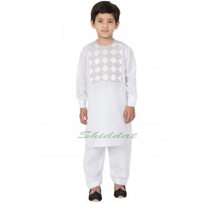 Afgani Pathani Suit for Kid's/Boy's - White