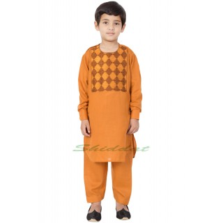 Afgani Pathani Suit for Kid's/Boy's - Orange