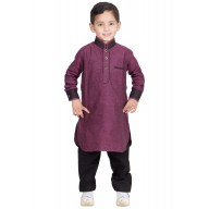 Boys Pathani Suit-Cannon Pink colored