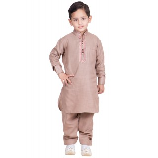 Pathani kurta-pajama for kids-Cavern pink colored