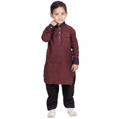 Pathani Suit for children- Lotus Brown colored